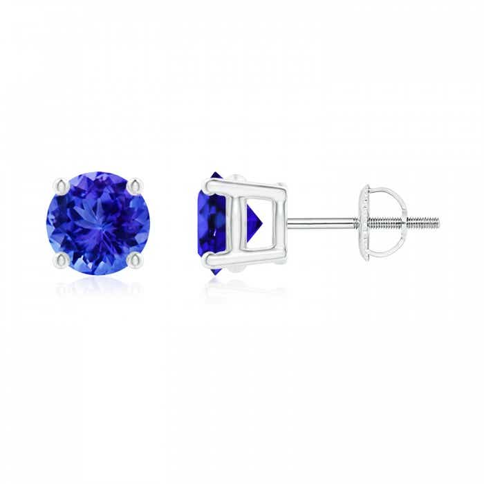 Angara Round Tanzanite Stud Earrings in Platinum ASeXKTud