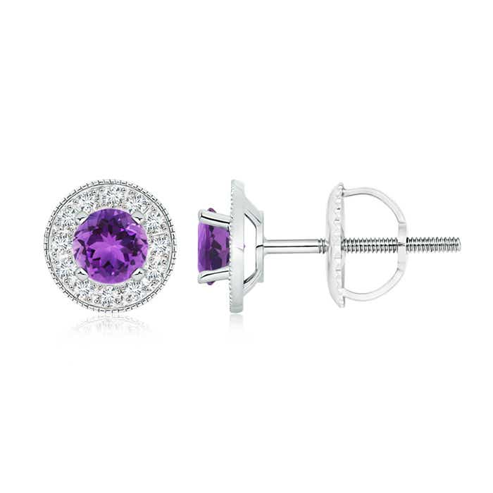 Angara Amethyst Stud Earrings with Diamond Halo JRGMRu