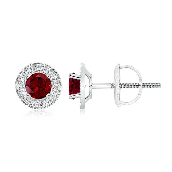 Angara Garnet Cocktail Earrings in Platinum ZW8BST