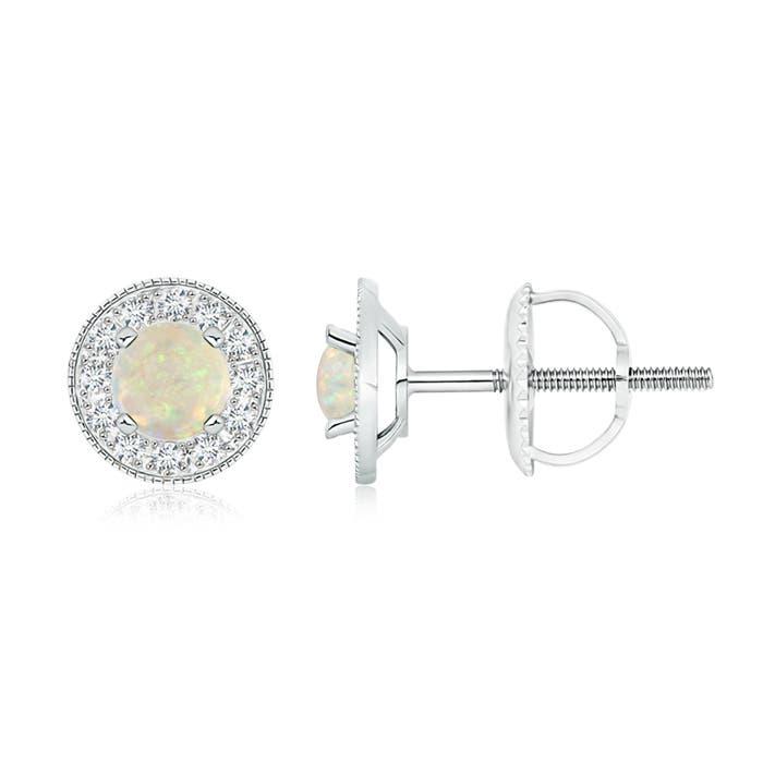 Angara Opal and Diamond Halo Vintage Stud Earrings in White Gold cLa7n