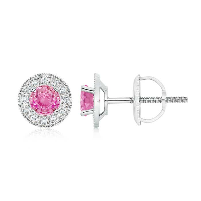 Angara Pink Sapphire Stud Earrings in Platinum with Screw Back 5CgnJkMp8