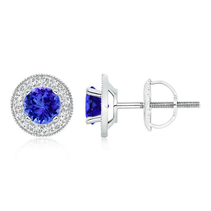 Angara Round Tanzanite and Diamond Halo Stud Earrings in White Gold O063QKsy4v