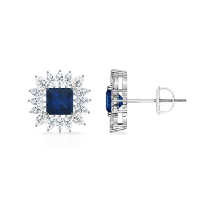 Angara Square Blue Sapphire and Diamond Halo Earrings in 14k White Gold cO9LD