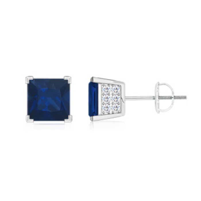 Angara Square Blue Sapphire and Diamond Halo Earrings in 14k White Gold gUofFQ