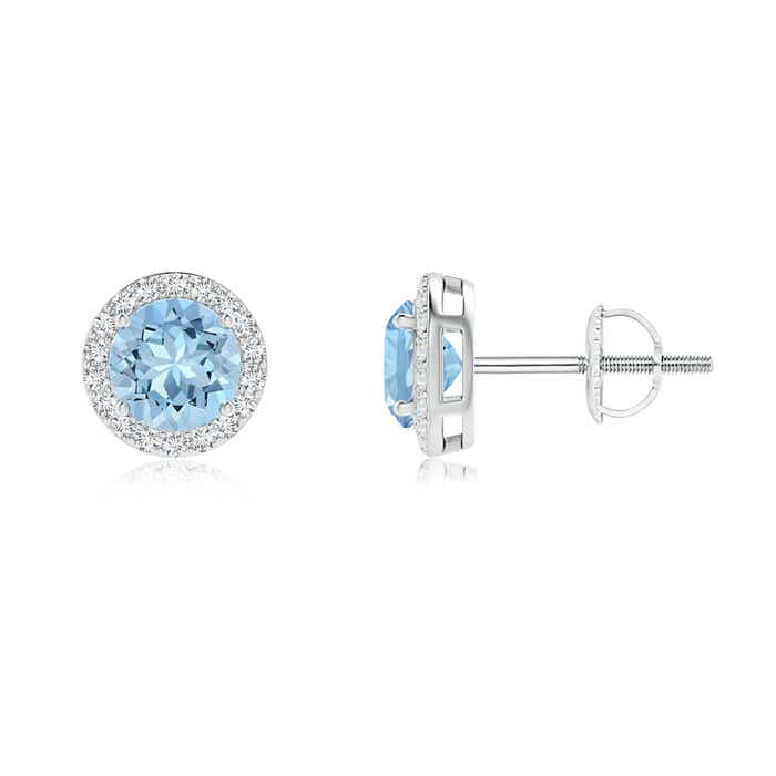 Angara Aquamarine and Diamond Halo Stud Earrings in White Gold