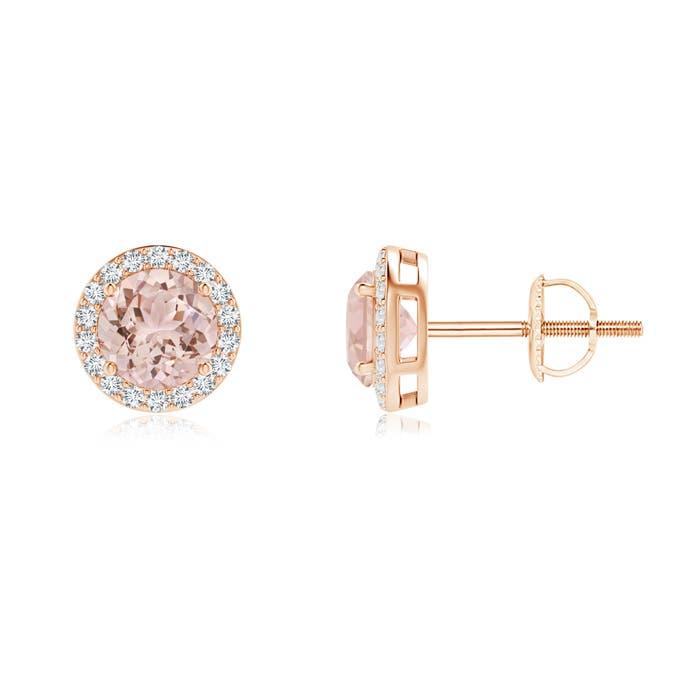 Angara Round Morganite Stud Earrings in Rose Gold wqbdWtKfEq
