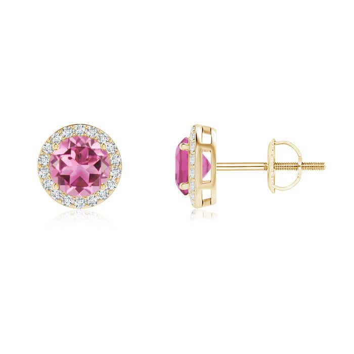 Angara Round Pink Tourmaline Diamond Stud Earrings in Yellow Gold nPinamB
