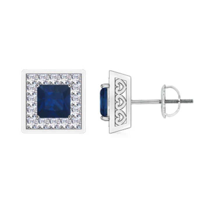 square sapphire stud earrings with princess diamond halo