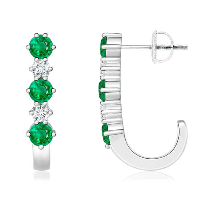 Angara Emerald Diamond Hoop Earrings in Yellow Gold Sq8o3