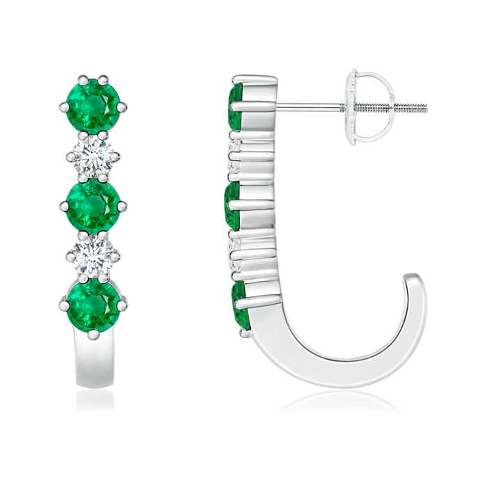 Angara Diamond and Blue Sapphire J-Hoop Earrings in Platinum cM2qSHIZo