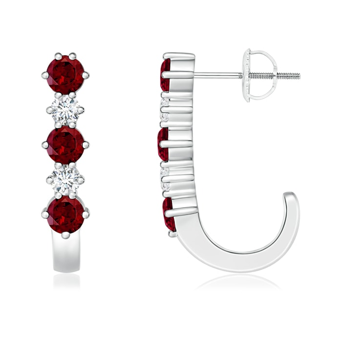 Angara Channel-Set Round Garnet Hinged Hoop Earrings upFruXKTc7