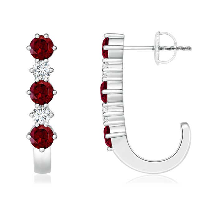 Angara Channel-Set Round Garnet Hinged Hoop Earrings
