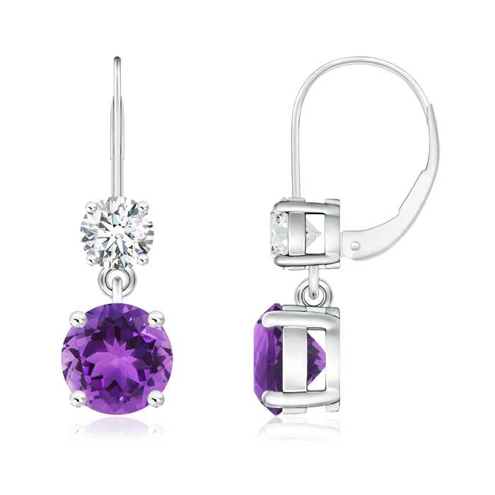 Angara Amethyst and Diamond Lever Back Earrings in White Gold