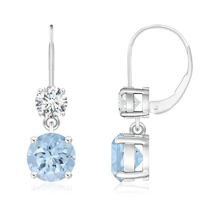 Angara Aquamarine and Diamond Leverback Earrings in White Gold fg54882jhF