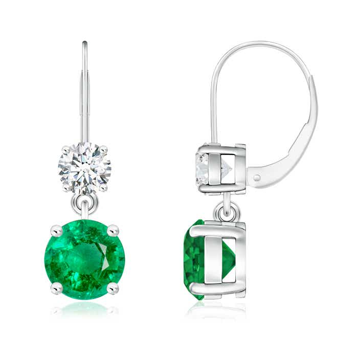 Angara Round Emerald Leverback Dangle Earrings with Diamond in Rose Gold zS2hcE