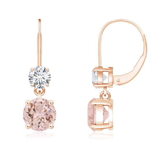 Angara Dangling Morganite and Diamond Halo Earrings in Yellow Gold EbviFBT7r