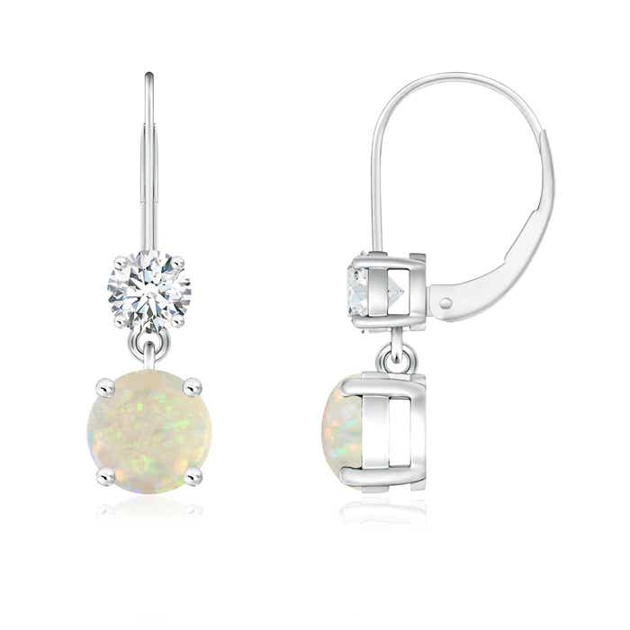 Angara Diamond Halo Opal Dangle Earrings in Platinum