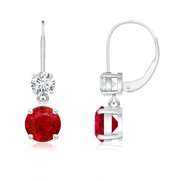 Angara Oval Ruby and Diamond Dangling Earrings in White Gold Cx9Ui7