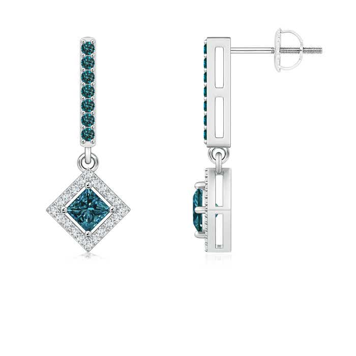 Angara Princess Cut Diamond Dangle Earrings in White Gold NZBjoTqf7