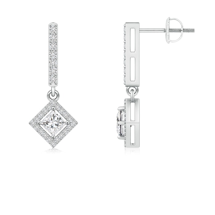 Angara Princess Cut Diamond Drop Earrings in Platinum olI4XAgA5x