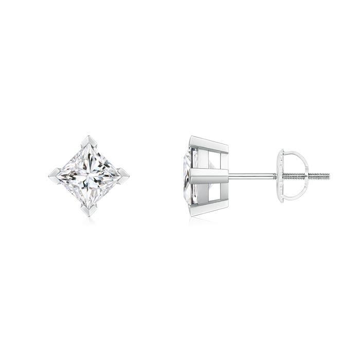Angara Princess Cut Diamond Earrings in Platinum UlCSqoygP