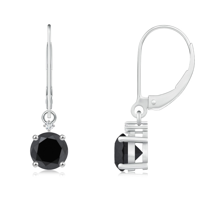 Angara Round Black Onyx Solitaire Earrings in White Gold azjyG