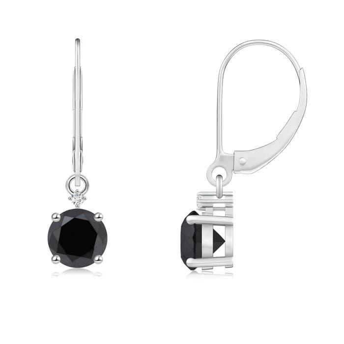 Angara Solitaire Enhanced Black Diamond Leverback Dangle Earrings 0GEhC1S