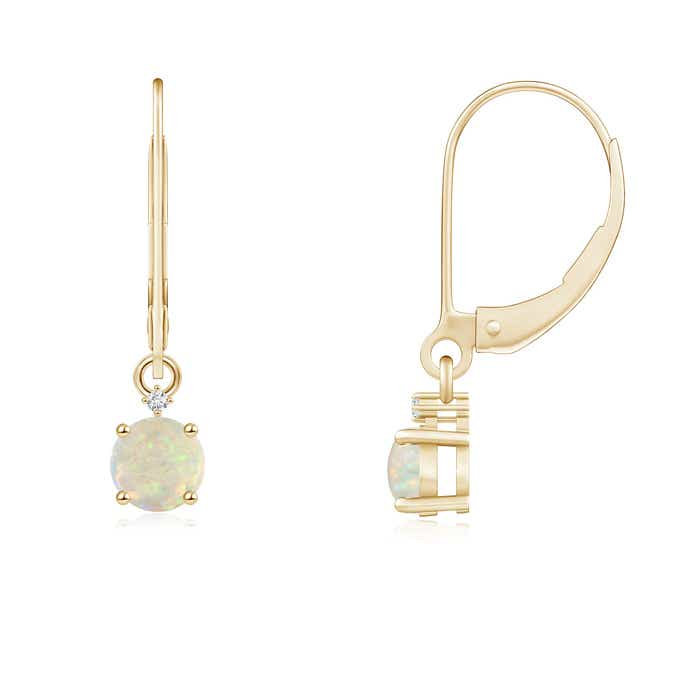 Angara Dangling Opal and Diamond Halo Earrings in White Gold