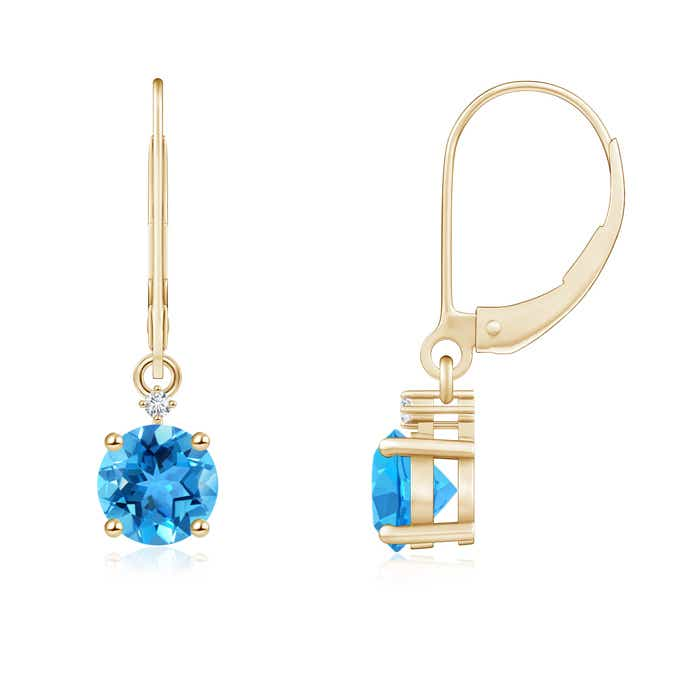 Angara Solitaire Swiss Blue Topaz Drop Earrings with Diamonds vednmYy