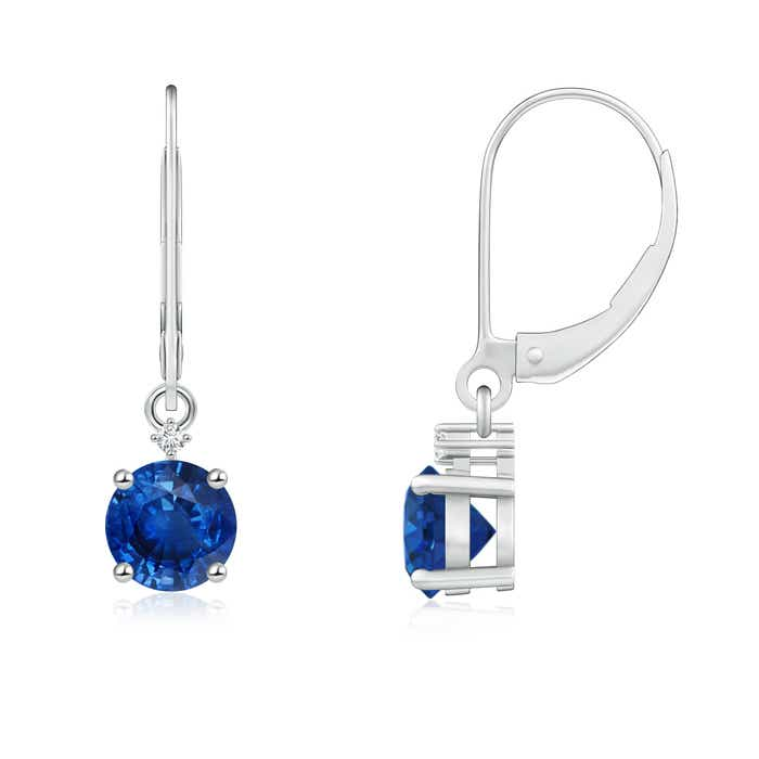 Angara Two Tier Blue Sapphire Leverback Earrings with Diamond Halo NCPKjL