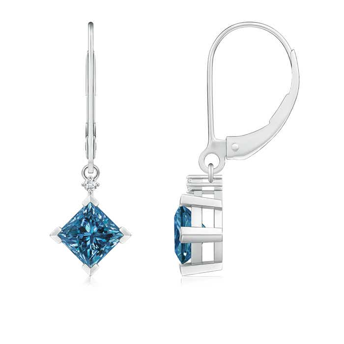 Angara Dangling Princess Cut Blue Diamond Leverback Earrings in 14k Rose Gold vWBODTKQ