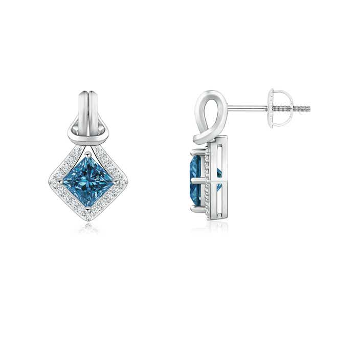 Angara Princess Enhanced Blue and White Diamond Halo Stud Earrings da0kihD