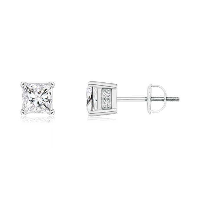 Angara Basket Set Solitaire Princess Diamond Earrings RCSsC5H