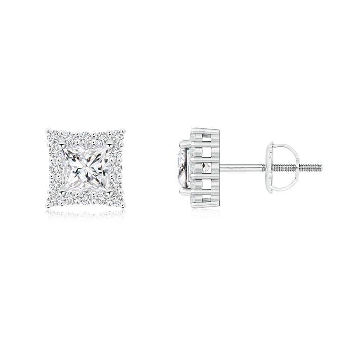 Angara Round Black Onyx and Diamond Halo Stud Earrings in White Gold 9Dzmwk8f