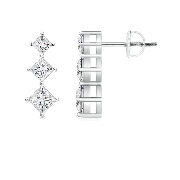 Angara 3 Stone Princess Cut Diamond Drop Earrings c9vRnTEZ