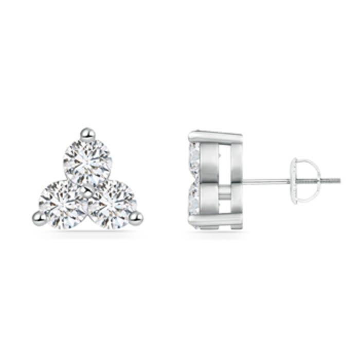 Angara Graduated Princess Diamond Three Stone Earrings ZaLnhSf2