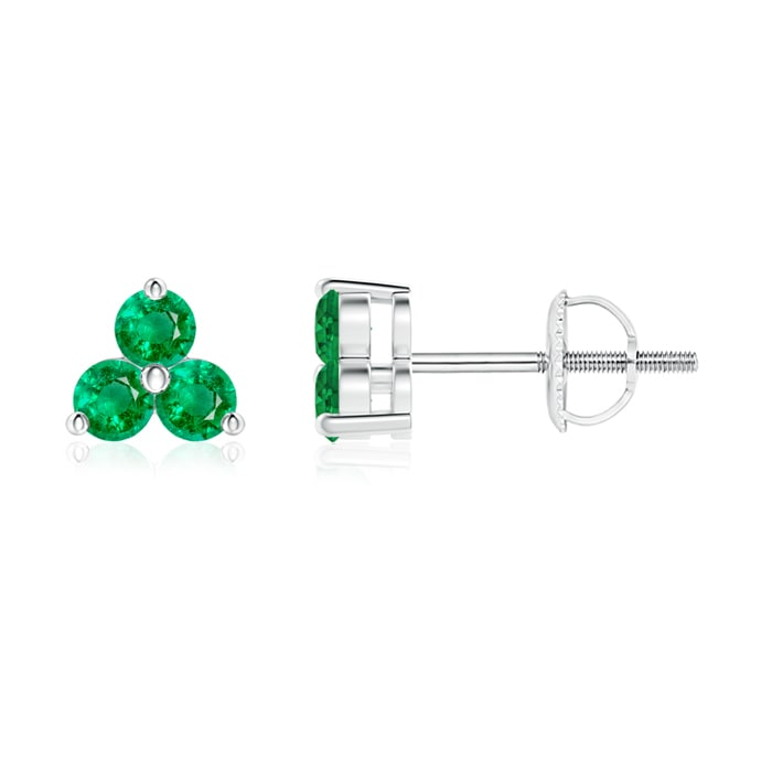 Angara Round Emerald Three Stone Stud Earrings zZNEmE9l0
