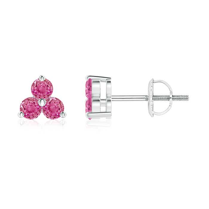 Angara Round Pink Sapphire Three Stone Stud Earrings CCgN2B