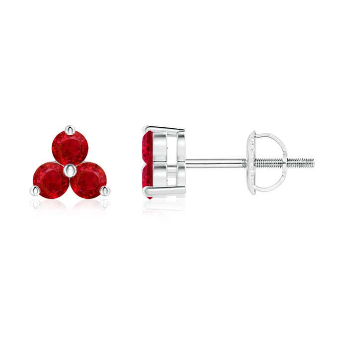 Angara 2.5mm Ruby Three Stone Stud Earrings in Platinum 1U1o9