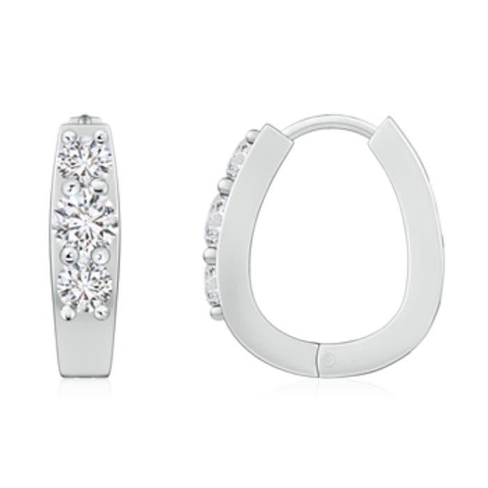 Angara Round Diamond Three Stone Hoop Earrings zXoaxCfG