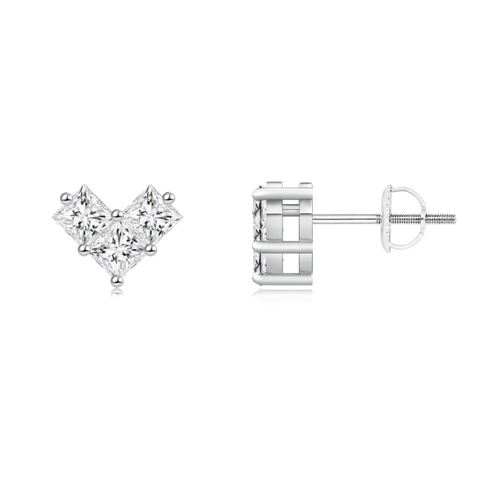 Angara Princess Cut Diamond Dangle Earrings in White Gold y2QjV