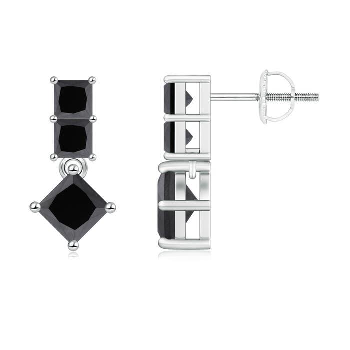 Angara Princess Enhanced Black Diamond Three Stone Drop Earrings White Gold 1WBSbpsHOa