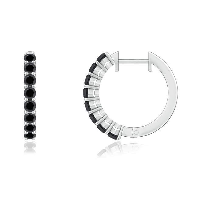 Angara Airline Set Round Diamond Hoop Earrings nd3bb0Xs