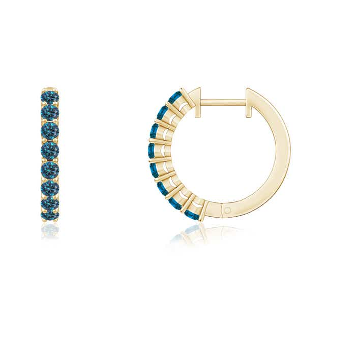 Angara Airline Set Round Enhanced Blue Diamond Hoop Earrings Yellow Gold HThHSi5MX