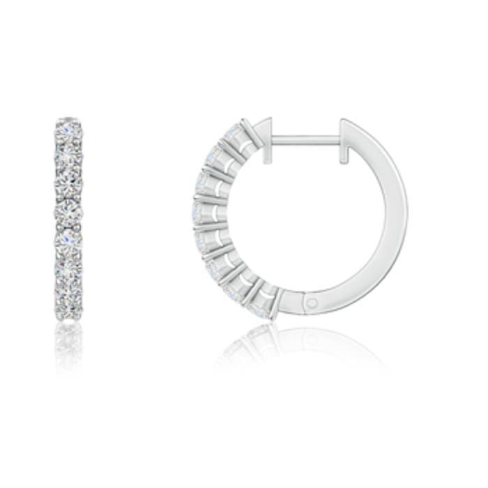 Angara Airline Set Round Diamond Hoop Earrings wpQiCr