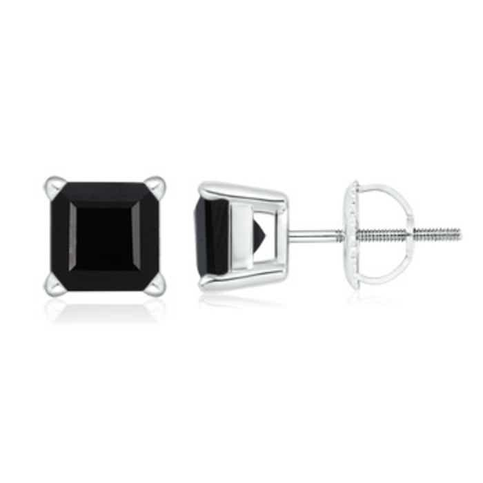 Angara Square Emerald Basket Stud Earrings in White Gold