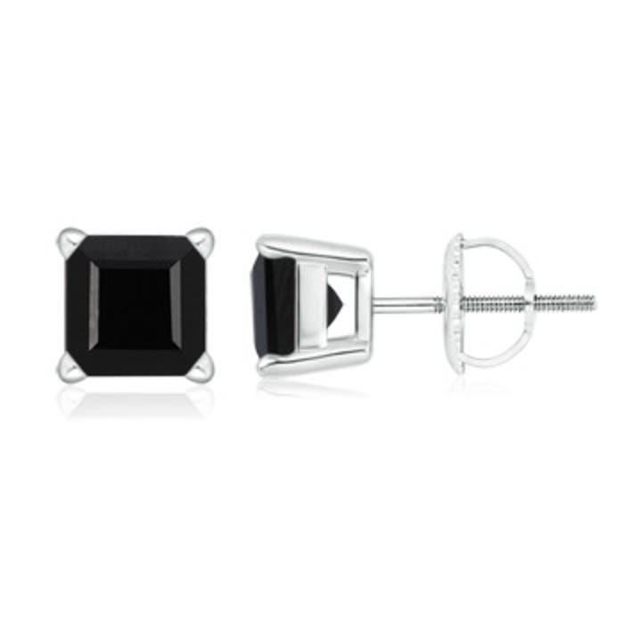 Angara Black Onyx Halo Earrings in White Gold rXSDf660