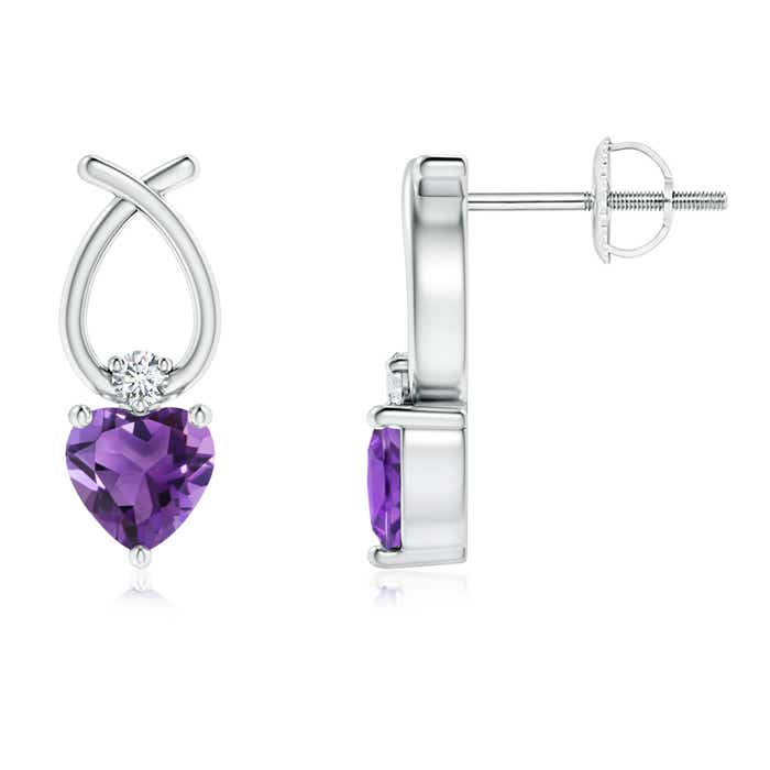 Angara Heart Shaped Amethyst Ribbon Earrings with Diamond BrYC90