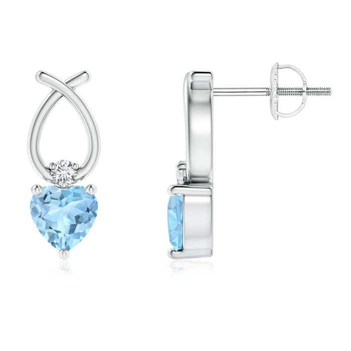 Angara Heart Shaped Aquamarine Ribbon Earrings with Diamond phuJud1i