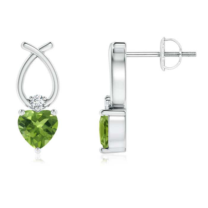 Angara Peridot Earrings in Platinum with Screw Back YJ3NO